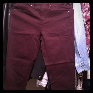 Maroon high waist skinny jeans